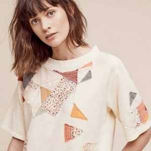 Anthropologie EUC postmark patchwork sweatshirt